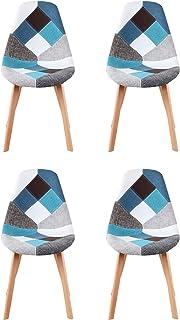 Y&D HOME Silla de comedor Patchwork de estilo nórdico con patas de haya natural para cocina, salón, oficina, salón, salón, recepción, sala de espera, juego de 4 (azul)
