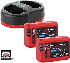 Baxxtar Pro Set - Compatible con batería Sony NP-FW50 (2X) con Cargador Twin Port 1822 (USB Dual)