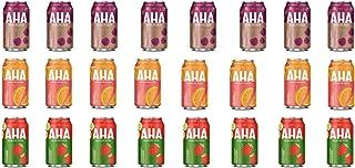 LUV BOX-Variety AHA Sparkling Water Pack , 12 oz , Pack of 24, BLACK CHERRY COFFEE , ORANGE GRAPEFRUIT , STRAWBERRY CUCUMBER