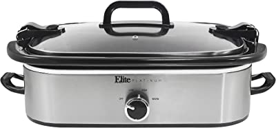 Elite Gourmet MST-5240SS Crock Slow Cooker, Locking Lid Adjustable Temperature Keep Warm Oven & Dishwasher-Safe Casserole Pan, 3.5Qt Capacity, Stainless Steel