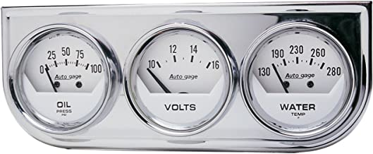 AUTO METER 2325 Autogage White Console Oil/Volt/Water Gauge with Chrome Steel