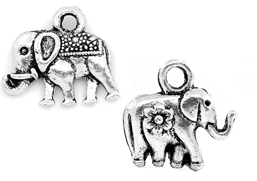 Lucky Elephant Charm Pendants 90 Pack, Silver Tone Wholesale Bulk Lot (Set 1-2 Different)