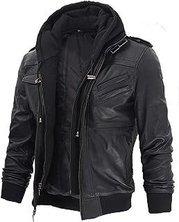 Decrum Leather Bomber Jackets - Shirt Collar Vintage Flight Jacket for Men