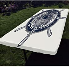 Adventure Polyester Fitted Tablecloth,Sea Compass and Storm Tattoo Design in Celtic Style Tsunami Waves and Wheel Decorative Rectangular Elastic Edge Fitted Table Cover,Fits Rectangular Tables 96x36