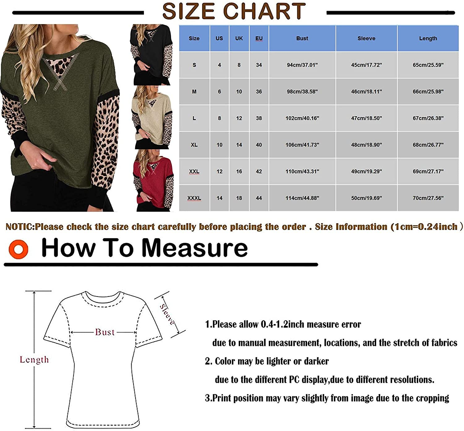 VonVonCo Pullover Sweaters for Women Long Sleeve Tops Round Neck Sweatshirts Casual Leopard Splicing Shirts