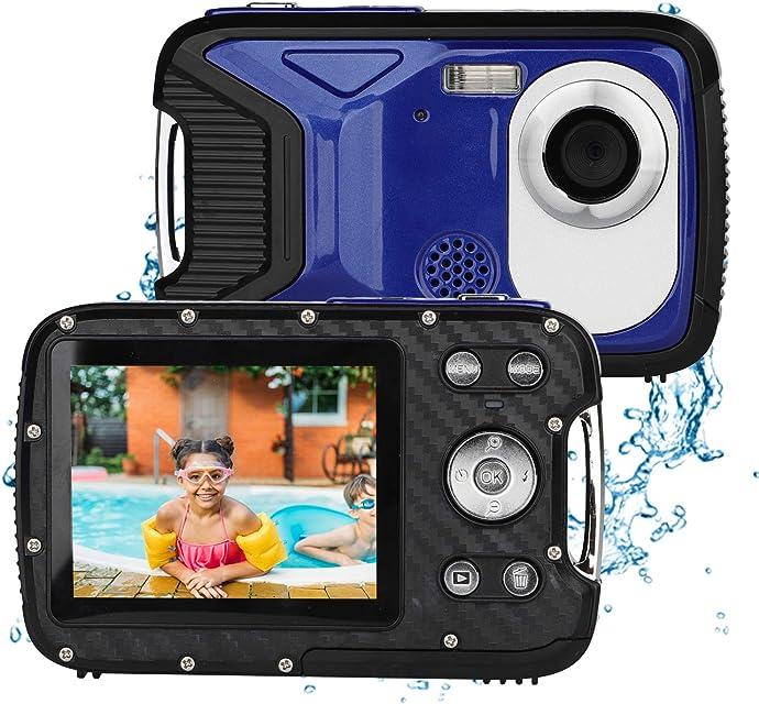 BYbrutek Cámara Digital para Niños 21MP 1080P Full HD 5 Metros Impermeable Cámara Subacuática para Niños LCD de 28 Pulgadas Zoom Digital 8X con Batería Recargable de 1050MaH (Azul)