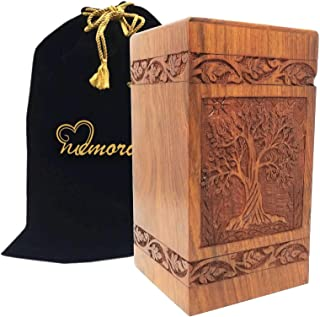 Memorials4u Solid Rosewood Cremation Urn with Hand-Carved Real Tree Design for Human Ashes - Adult Funeral Urn Handcrafted and Engraved - Affordable Urn for Ashes - Wood Urn (Soulful Tree)