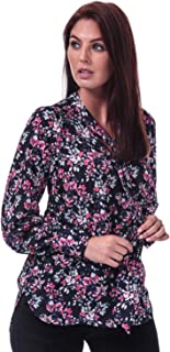 French Connection Womens Linosa Crepe Light Floral Blouse in Utility Blue Multi.