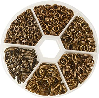 PH PandaHall 1 Box 6 Sizes Antique Bronze Split Iron Double Jump Rings for Jewelry Making, Nickel Free (Diameter: 4mm, 5mm, 6mm, 7mm, 8mm, 10mm)