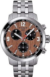 ساعة تيسوت PRC 200 كرونوغراف رجالية نمط كرة السلة رقمية مينا بني T055.417.11.297.01
