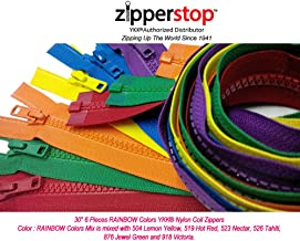 Zipperstop Wholesale YKK®- 30 Inch Vislon Sport Jacket Zippers for All Special Occasions YKK® #5 Molded Plastic Separating in Rainbow Colors Mix Is Mixed with 504, 519, 523, 526, 876 and 918 Made in USA