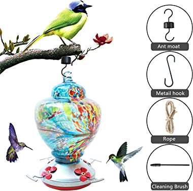 CJJCCF Hummingbird Feeder for Outdoors,Glass Bird Feeders Easy to Clean&Filling,Bird Feeder Best with Color Hand Blown Glass,