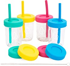 Kids Cups - 8oz Glass Mason Jar Drinking Cups with Straw Lids + Leak Proof Regular Lids + Silicone Straws - Spill Proof, Straw cups for Toddlers & Kids + Food Storage (4 Pack)