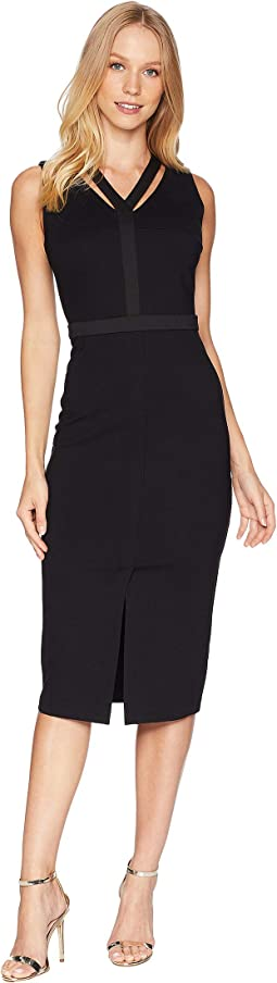 Knit Ponte Midi Dress w/ Cut Out Front