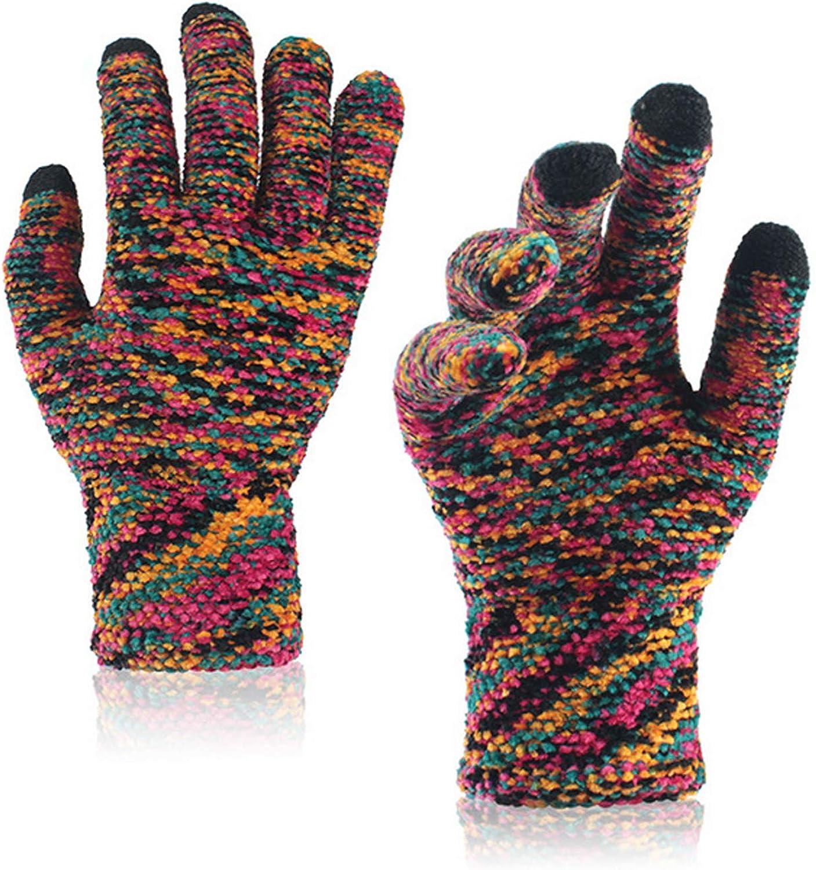Suillty Unisex Winter Knit Touch Screen Gloves Anti-slip Magic Texting Snow Ski Mittens for Women Men Teens