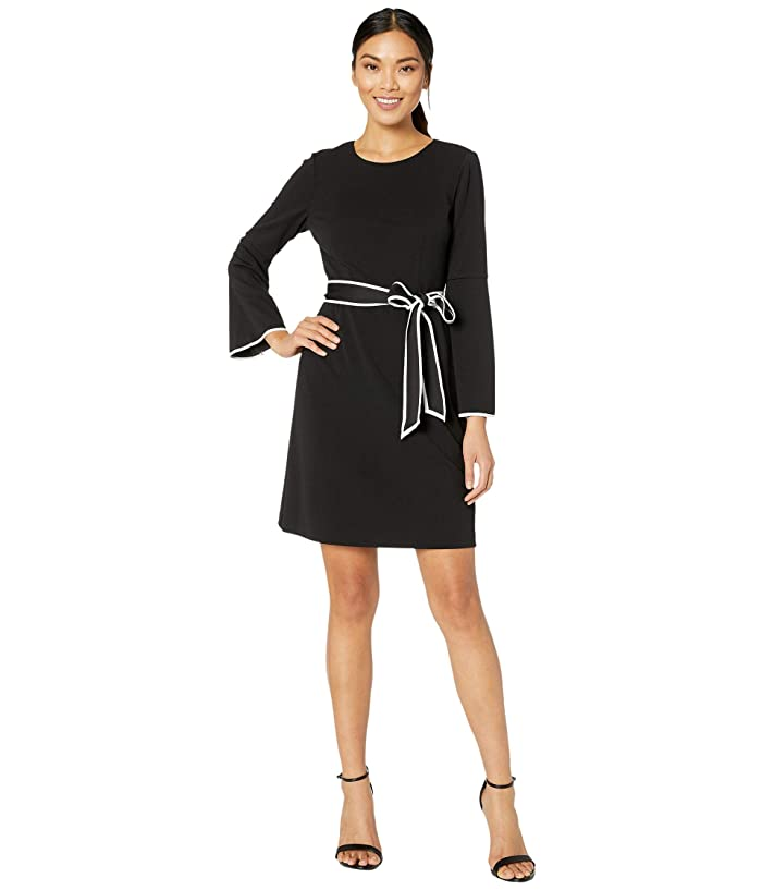 Adrianna Papell  Knit Crepe A-Line Dress with Contrast Trim Detail (Black/Ivory) Womens Dress