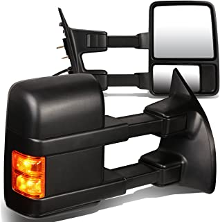 For 08-16 Ford Super Duty Pair of Black Textured Telescoping Manual Extendable + Amber Signal Side Towing Mirrors