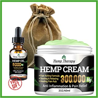 Hemp Therapy's Hemp Cream 300,000mg - Chronic Pain, Sciatica, Carpal Tunnel Reliever - Sore Back, Leg, Neck, Knee, Shoulder, Joint, Stress Relief - Full Spectrum, Natural Topical Salve - 60ml