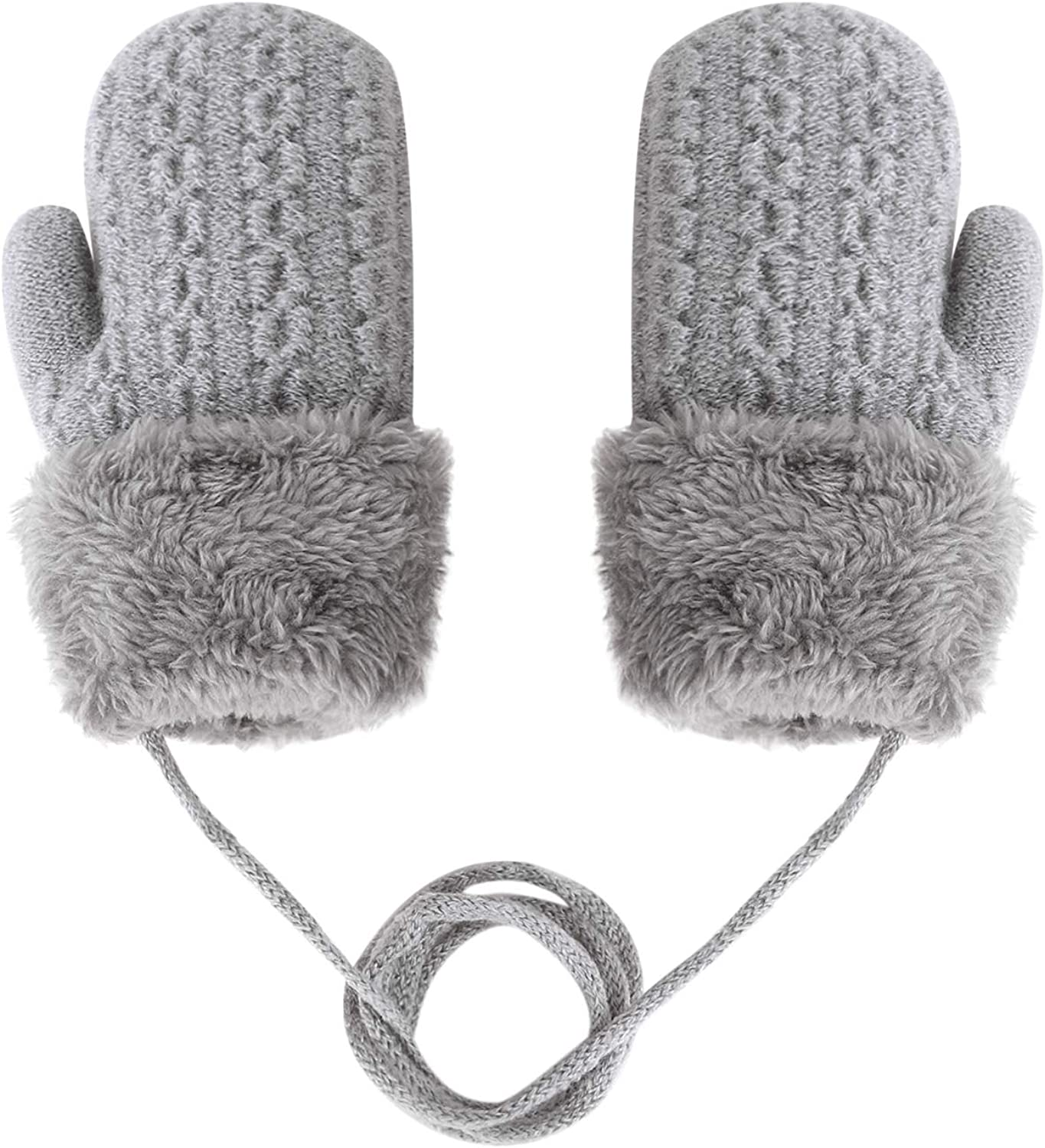 Toddlers Kids Winter Inventory cleanup selling sale Warm Mittens Baby Lanyard Gloves Ski Max 90% OFF Knit f