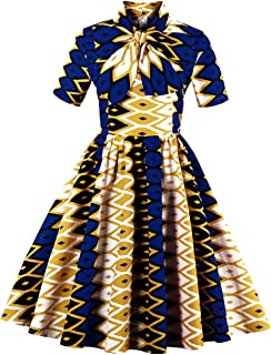 Womens African Dress Dashiki Print Midi Fit and Flare Short Sleeve Formal A Line Swing Dresses