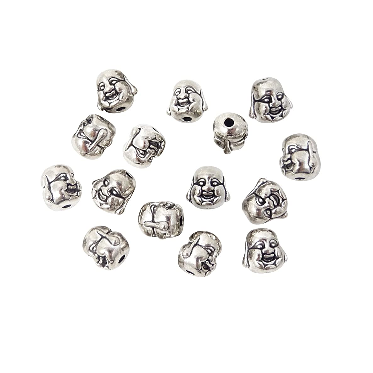Honbay 30PCS Tibetan Silver Double Sided Happy Laughing Buddha Head Small Spiritual Metal Beads for DIY Crafts or Jewelry Making