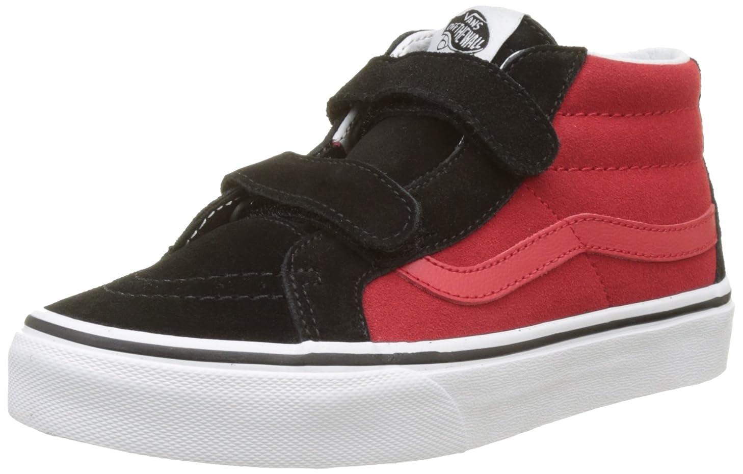 Vans Sk8 Hi Mid Reissue V Kids Size 10.5 (2-Tone) Black Racing Red Skateboarding Shoes