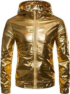 Mogogo Mens Windbreaker Windproof Zipper Glitter Hooded Jackets Outwear