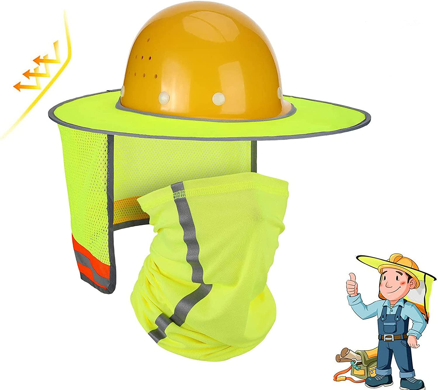 2 Pack Hard Hat Sun Shade online shop Protection Ne Austin Mall High Neck Visibility
