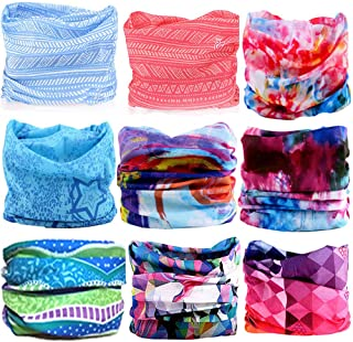 KALILY 12PCS/9PCS/6PCS Headband Bandana - Versatile Sports & Casual Headwear –Multifunctional Seamless Neck Gaiter, Headwrap, Balaclava, Helmet Liner, Face Mask for Camping, Running, Cycling, Fishing etc (Flower Pack D)