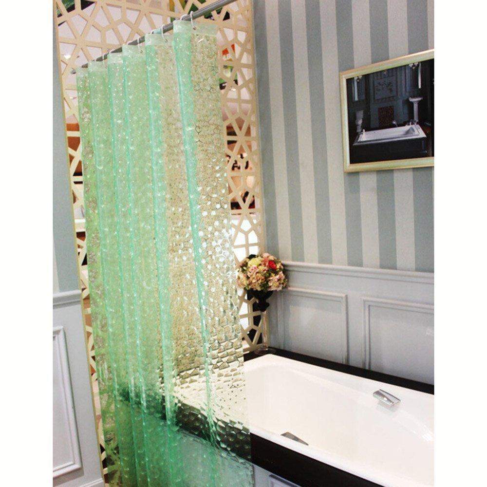 eleoption cuarto de baño bañera cortina de ducha impermeable 3d efecto Mampara cortina 180 * 180 cm con ganchos de plástico: Amazon.es: Hogar
