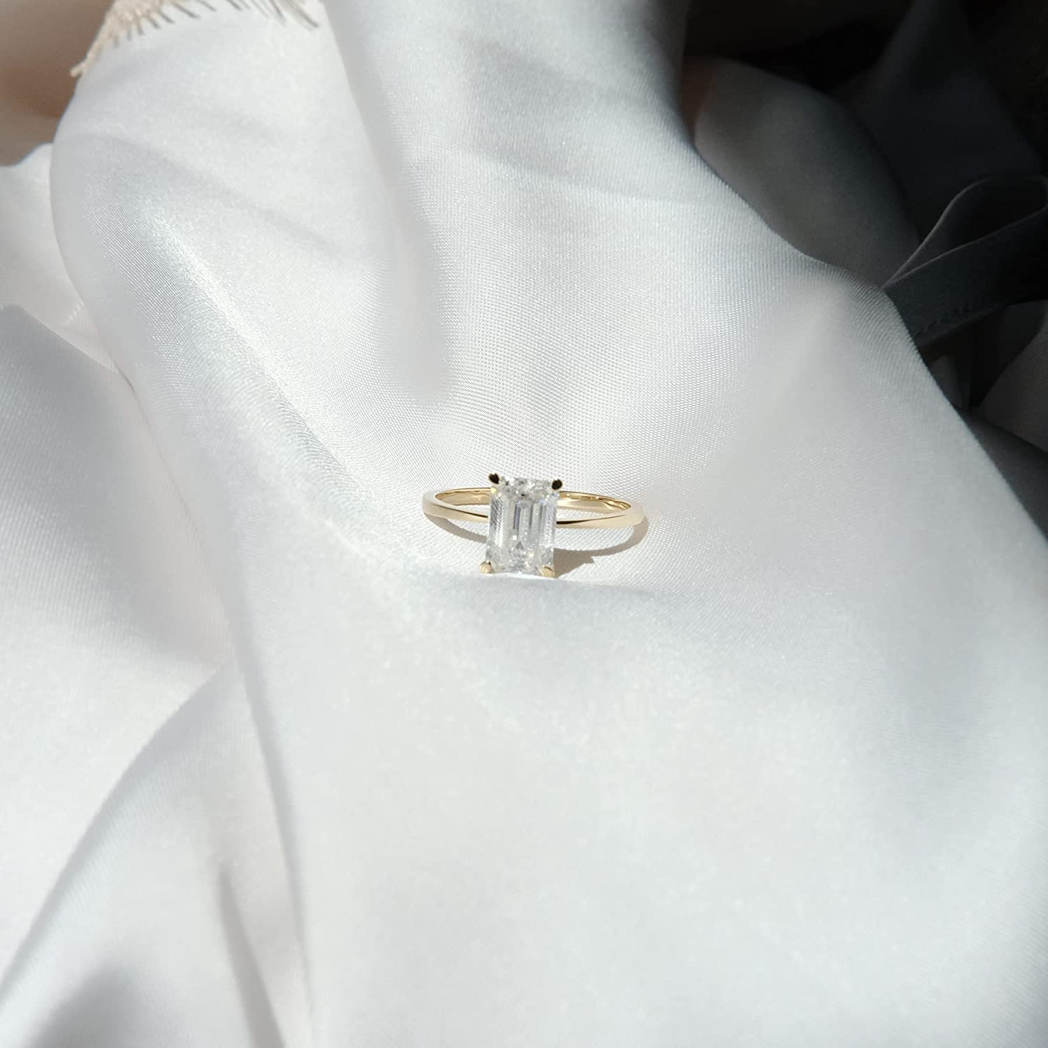 2 Carat Emerald Cut Moissanite Engagement Ring Classic Engagement Ring Solid Gold Plain Ring Band 14K Yellow Gold Bridal Ring Stackable Wedding Ring