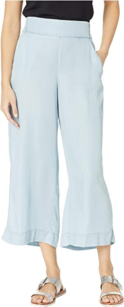 Lyocell Denim Pull-On Cropped Palazzo in Chambray