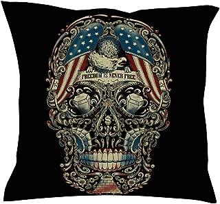 DYG88 Throw Pillow Case Skull Linen Sofa Decor Simplicity - Dark Pattern Print Halloween Couch Pillow Cover for Sofa Bed Decor 18