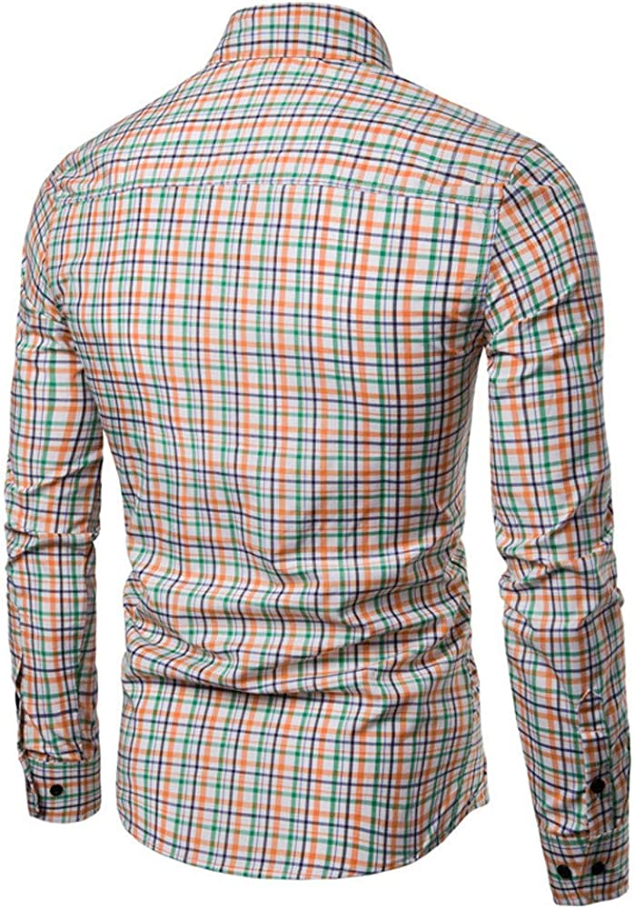 MODOQO Men's Button Down Dress Shirts Regular-Fit Long-Sleeve Plaid Shirt