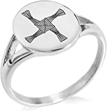 Stainless Steel Hexagram Star of David Hexagon Crest Flat Top Biker Style Polished Ring