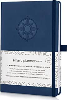 Smart Planner Pro 2019-2020 - Tested & Proven to Achieve Goals & Increase Productivity, Time Management & Happiness - Daily Weekly Monthly Planner with Gratitude Journal, Hardcover, Undated (Blue)