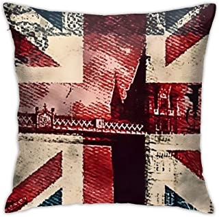 SARA NELL Velvet Throw Pillow Cases,London Bridge and England Flag,Pillow Covers Decorative 18x18 in Pillowcase Cushion Covers with Zipper