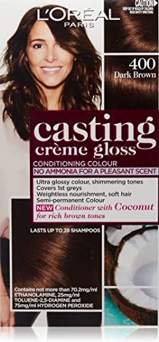 L'Oréal Paris Casting Crème Gloss Semi-Permanent Hair Colour - 400 Dark Brown (Ammonia Free)