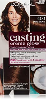 L'Oréal Paris Casting Crème Gloss Semi-Permanent Hair Colour - 400 Dark Brown (Ammonia Free)