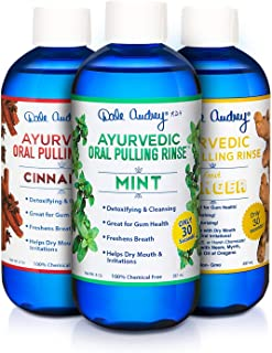 Dale Audrey | Oil Pulling Oil | Natural Mouthwash | Ayurvedic Formula | 3 Pack Combo - Mint, Cinnamon, Ginger | Whitens Te...