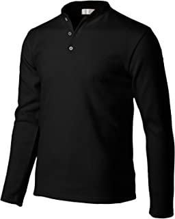 Mens Casual Slim Fit Henley Long Sleeve T Shirts of Waffle Cotton