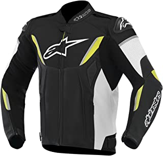 Alpinestars GP-R Perforated Leather Men's Riding Jacket (Black/White/Yellow, Size 60)