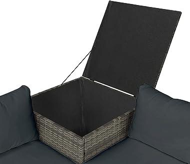 Leisure Zone 4 PCS Outdoor Cushioned PE Rattan Wicker Sectional Sofa Set Garden Patio Furniture Set (Dark Grey Cushions)