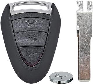 Auto Schlüssel Funk Fernbedienung 1x Gehäuse 3 Tasten + 1x Rohling HAA + 1x CR2032 Batterie für Porsche