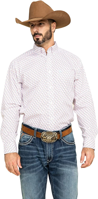 ARIAT Men's Inman Small Geo Print Long Sleeve Western Shirt Tall White Large Tall