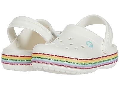 Crocs Kids Crocbandtm Rainbow Glitter Clog (Toddler/Little Kid/Big Kid) (White) Girl