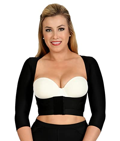 InstantRecoveryMD Underbust Crop Top with Front Zipper Shapewear Compression Body Shaper Post Surgical Support (Black) Women