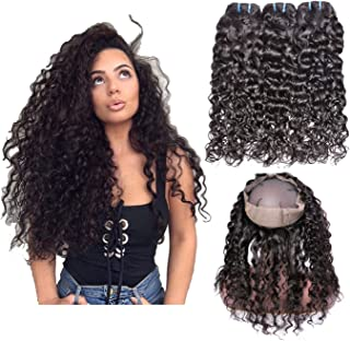 IWISH Brazilian Water Wave 3 Human Hair Bundles with 360 Lace Frontal Closure (14 16 18+12) Unprocessed Wet And Wavy Water Wave Hair Bundles With 360 Frontal Closure Can be Dyed