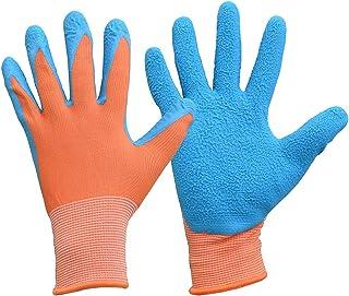 Guantes de trabajo de protección de látex para jardinería de niños, Size 5, naranja/azul, 1