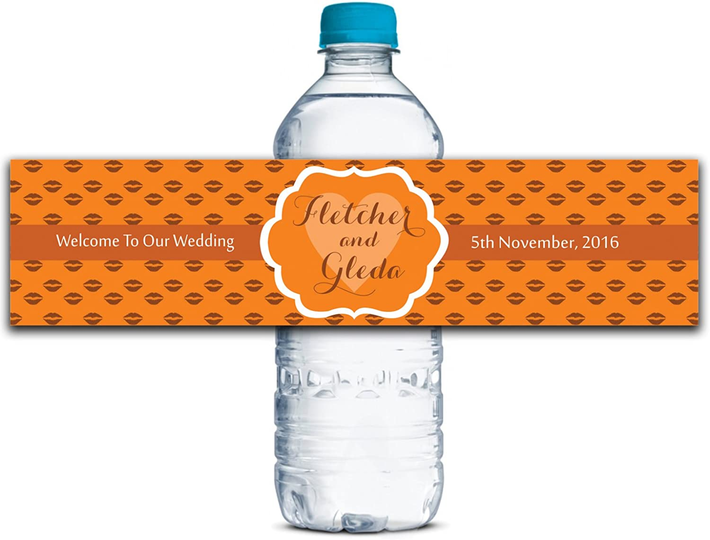 Personalisierte Wasserflasche Etiketten Selbstklebende wasserdichte Kundenspezifische Hochzeits-Aufkleber 8    x 2  Zoll - 70 Etiketten B01A0W6M3G   Verkaufspreis  113069